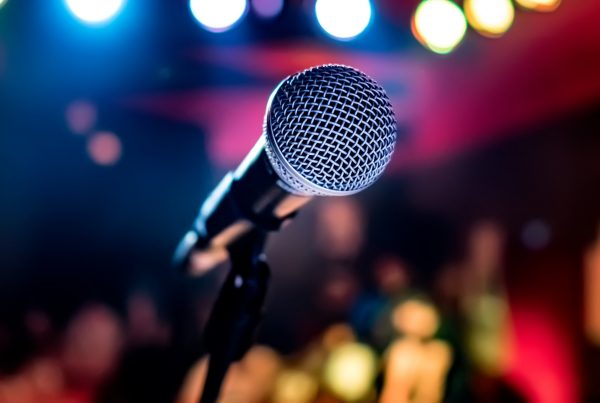 Live music microphone on stage